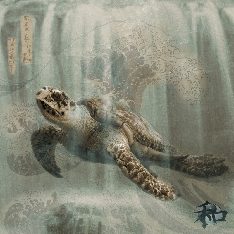 A sea turtle is swimming in this photo collage with Hokusai's The Great Wave superimposed within the artwork..