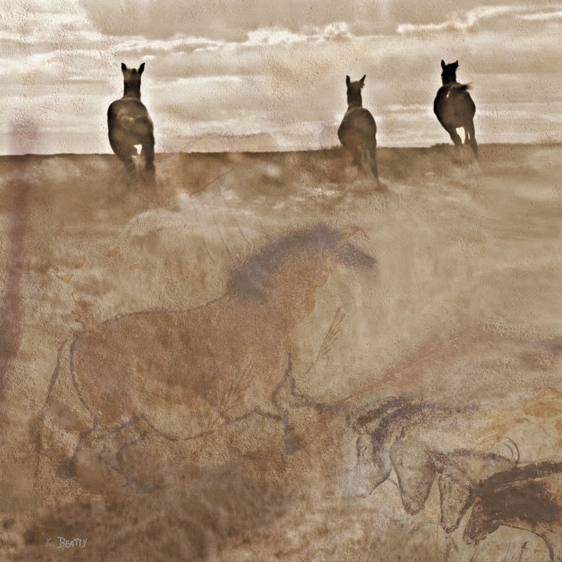 Wild horses running on the range are featured in this photo collage with cave art from the Lascaux caves.