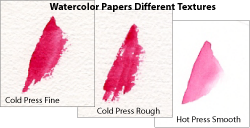 Watercolor papers in different textures. Cold press fine. Cold press rough. Hot press smooth.